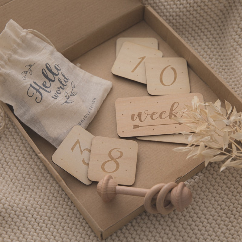 19Pcs/Lot Wooden Baby Photography Milestone Cards