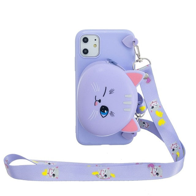 3D Cartoon Silicone Wallet Phone Case With Lanyard For iPhone Series