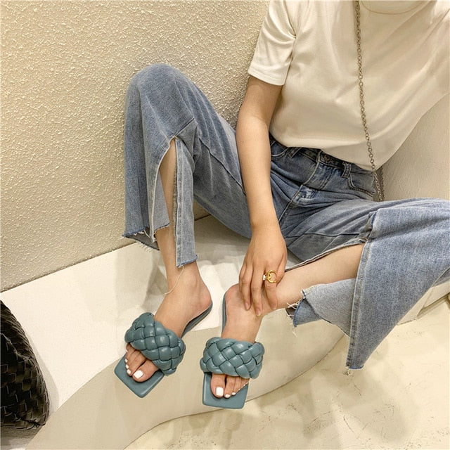 Rome Style Weave Slides Flat Women's Slippers