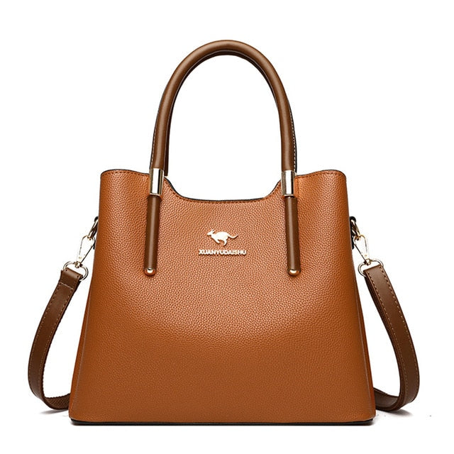 Casual Top-Handle Leather Shoulder Bags For Women