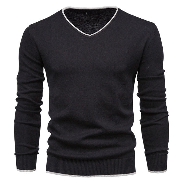 V-Neck Solid Color Slim Cotton Men's Black Sweater