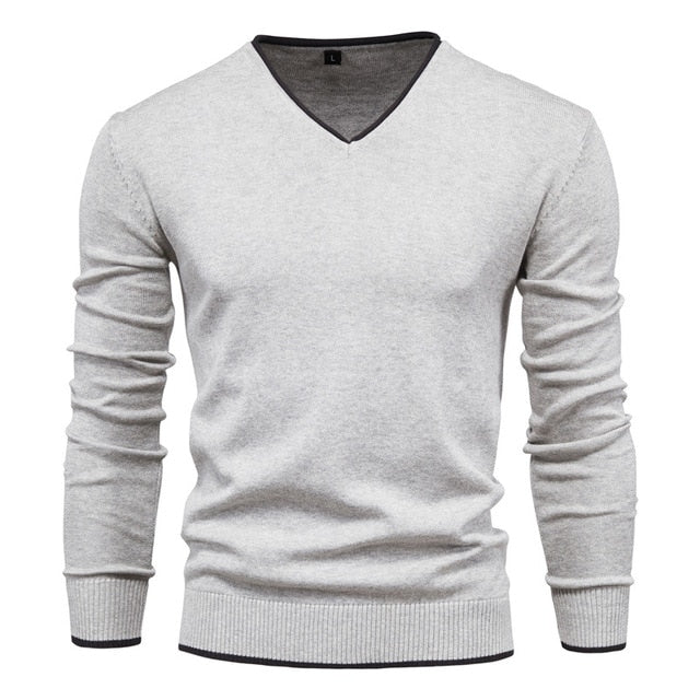 V-Neck Solid Color Slim Cotton Men's Sweater