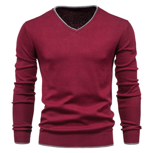 V-Neck Solid Color Slim Cotton Red Men's Sweater