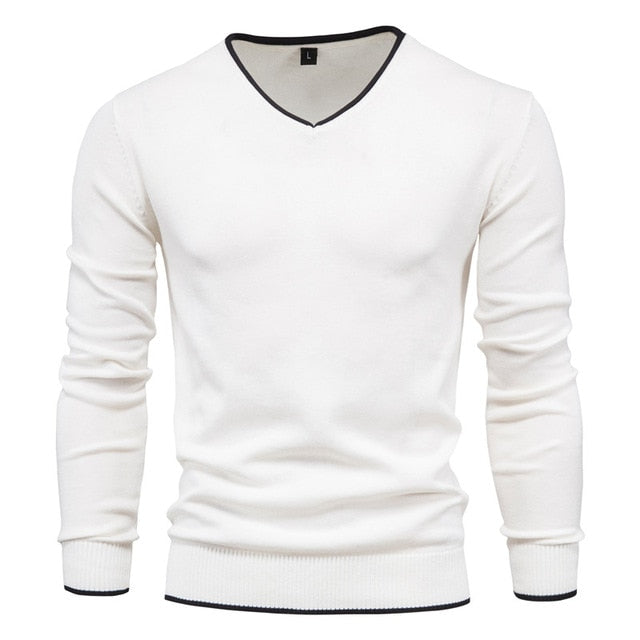 V-Neck Solid Color Slim Cotton Men's white Sweater