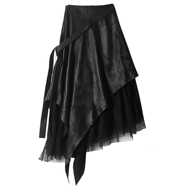 In The Long Section Of High Waist A-line Irregular Leather Mesh Skirt