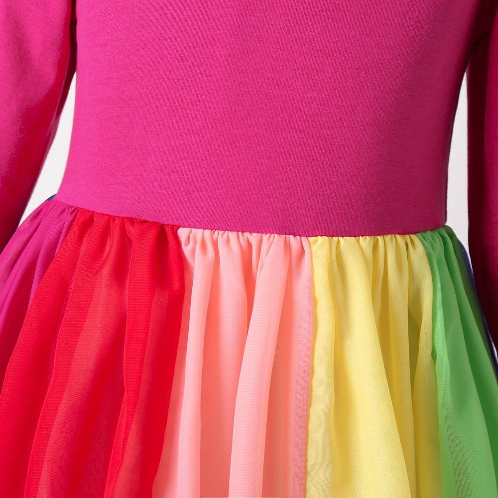 Cute Rainbow & Color Block Cotton Princess Girls Dress