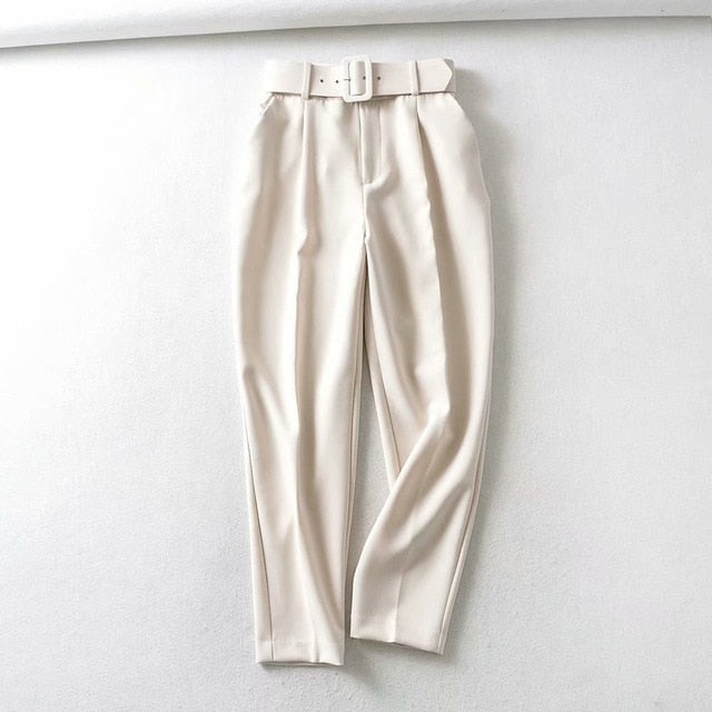 Retro High Waist Solid Color Sashes Slim Women's White Pants