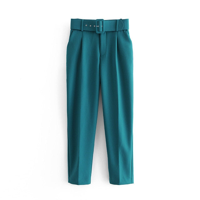 Retro High Waist Solid Color Sashes Slim Women's Green Pants