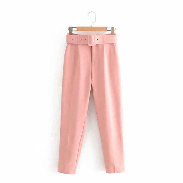 Retro High Waist Solid Color Sashes Slim Women's Pink Pants