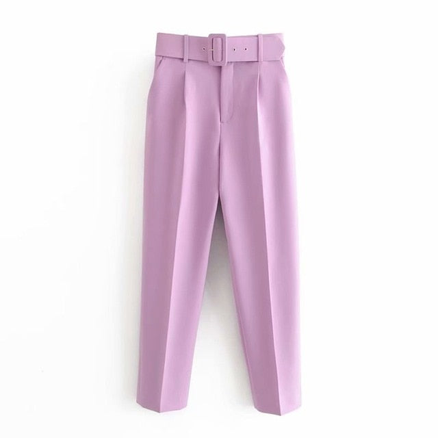 Retro High Waist Solid Color Sashes Slim Women's Light Purple Pants