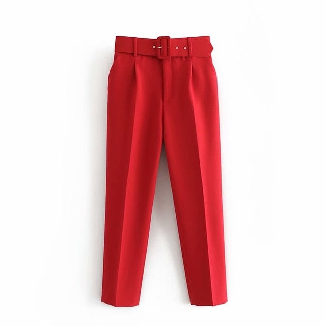 Retro High Waist Solid Color Sashes Slim Women's Red Pants