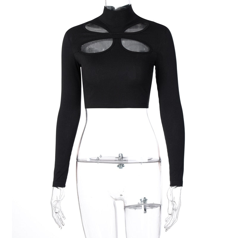 Hollow Out Turtleneck Ribbed Bodycon Women's Crop Top