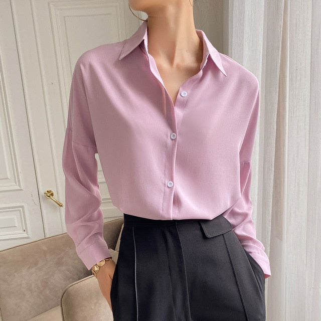 Elegant Lapel Single-Breasted Solid Women's Pink Shirt