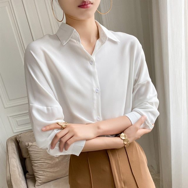 Elegant Lapel Single-Breasted Solid Women's White Shirt
