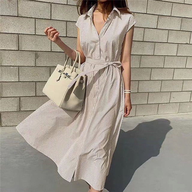 Sleeveless Striped Lace-Up Beige Summer Shirt Dress