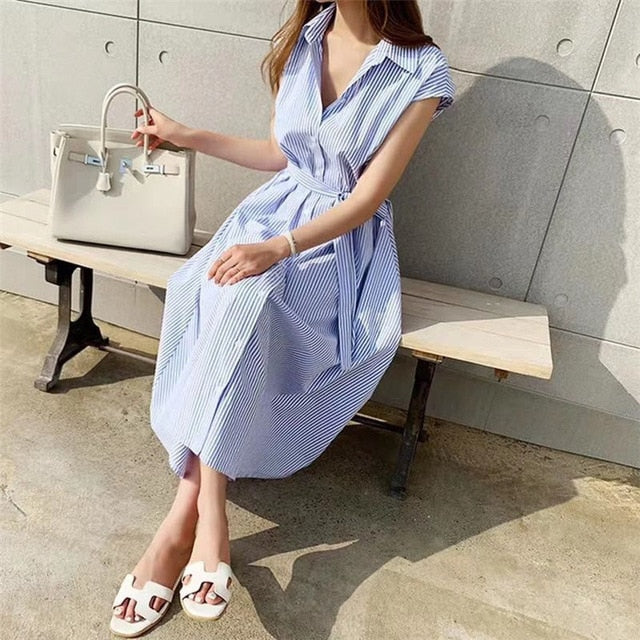 Sleeveless Striped Lace-Up Summer Shirt Dress