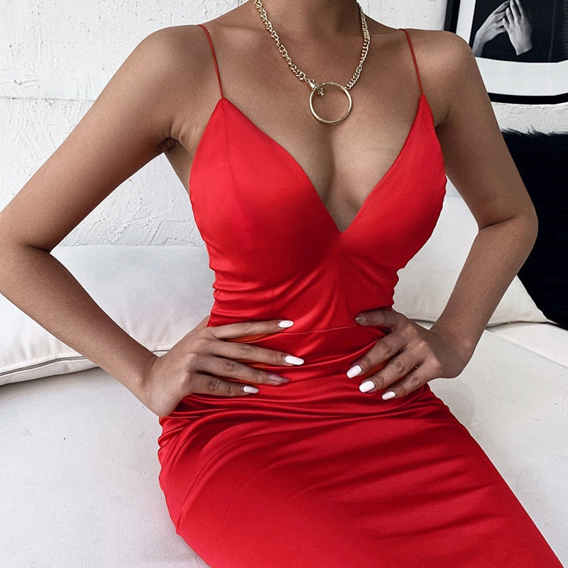 Spaghetti Strap V-neck Satin Midi Red Dress