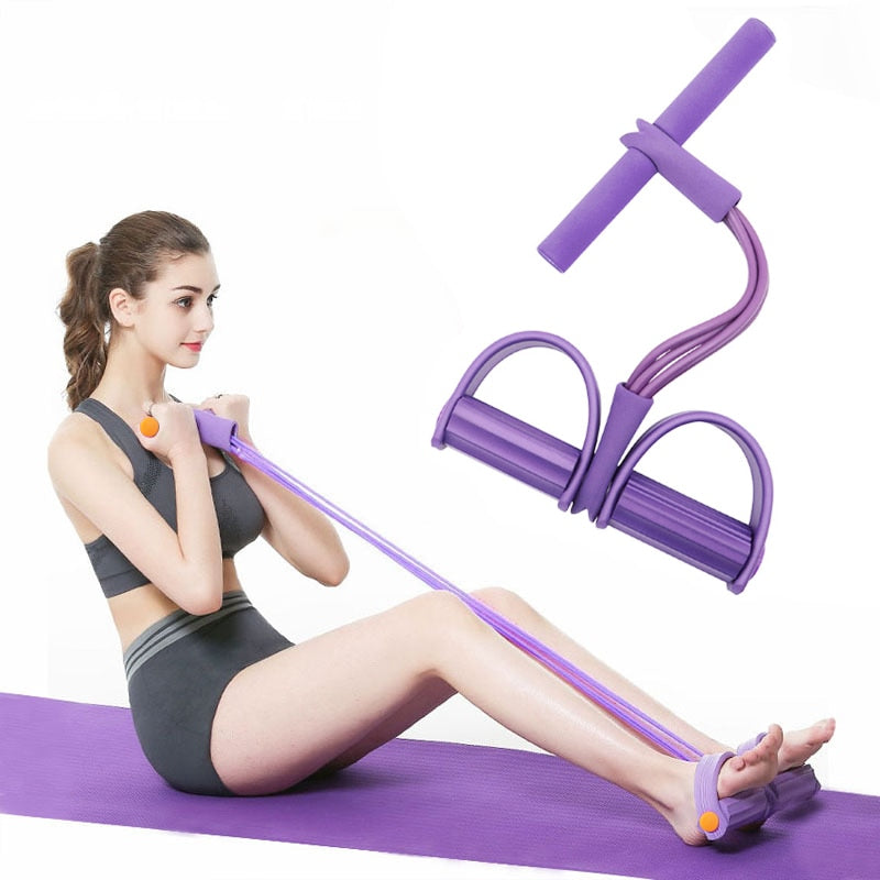 Elastic 4 Tubes Resistance Bands Fitness Exercise Puller