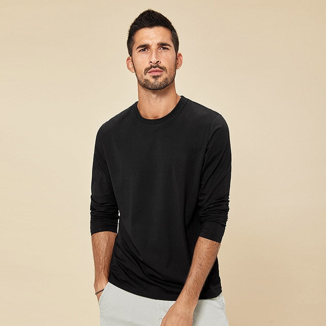 Long Sleeve Soft Cotton Solid Color Black Men's T-shirt