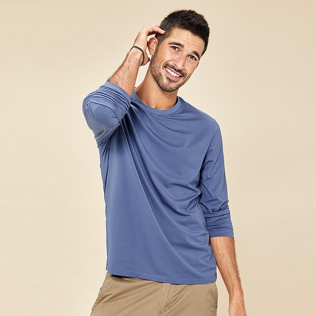 Long Sleeve Soft Cotton Solid Color Men's T-shirt