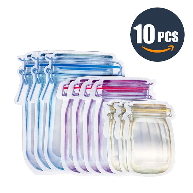 Portable Reusable Fresh Food Mason Jar Storage Bags