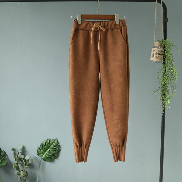 Korean Style High Waist Pockets Suede Harem Pants For Women
