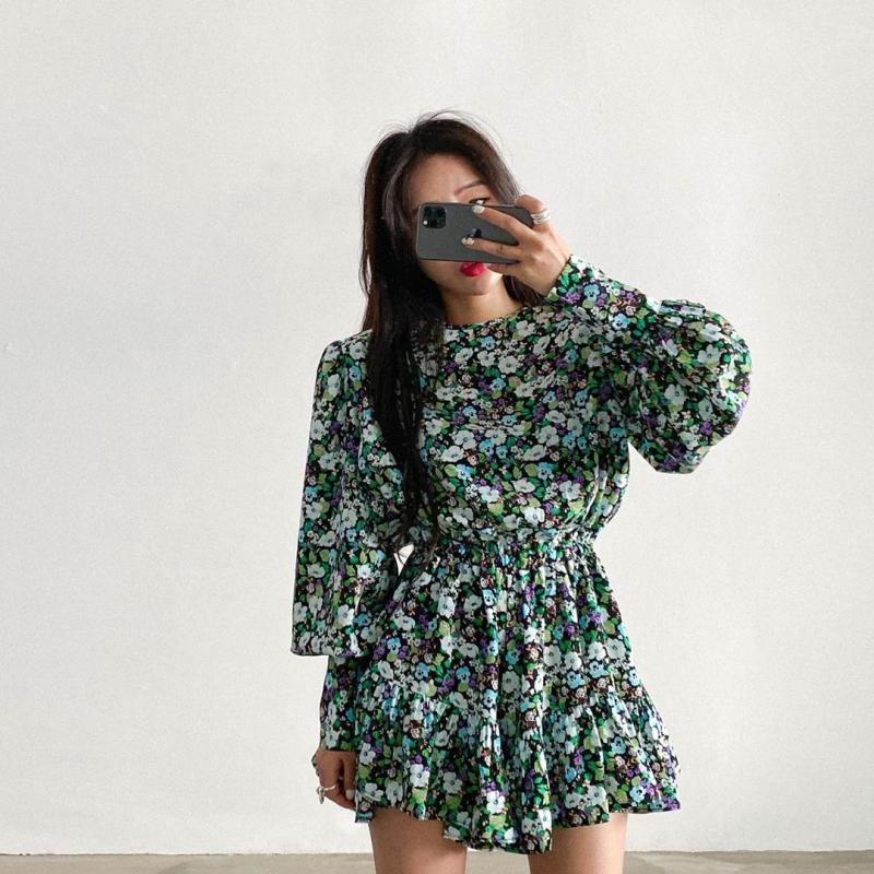 Vintage Korean Style Floral Print Office Lady Dress