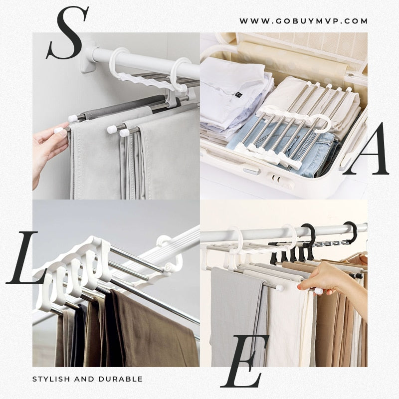 Multifunctional 5-in-1 Stainless Steel Pants Hanger