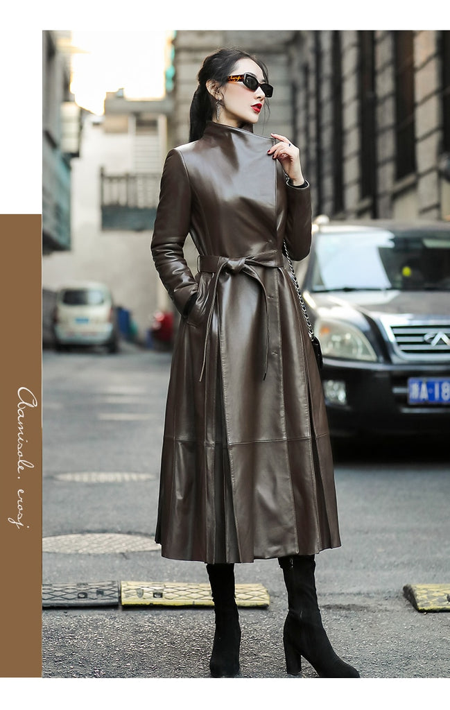 Plus Size Belted Skirted Brown Leather Long Trench Coat For Women