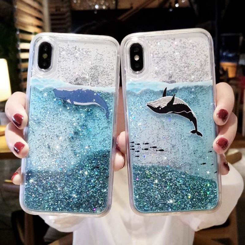 Cute Cartoon Whale Dolphin Bling Case For Samsung Galaxy Devices