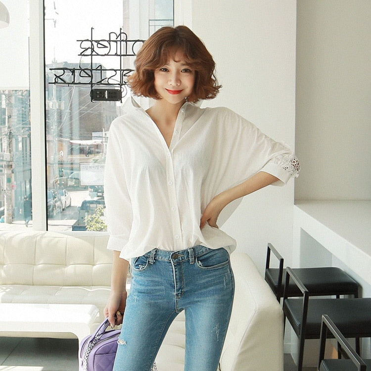 Hollow Out Backless Loose White Lace Office Lady Blouse