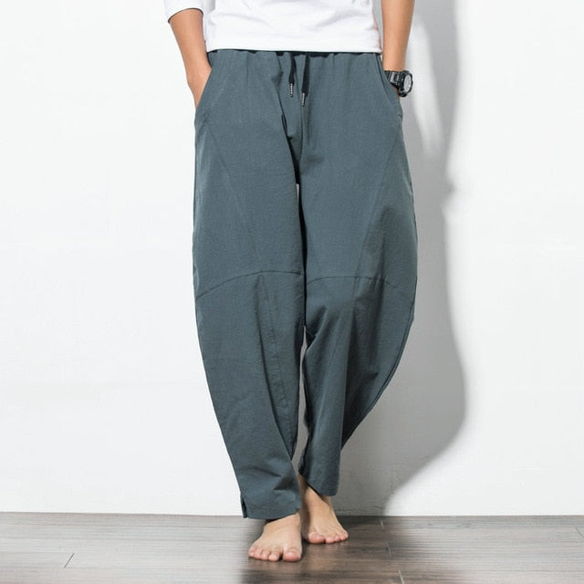 Korean Style Cotton Linen Men's Harem Pants