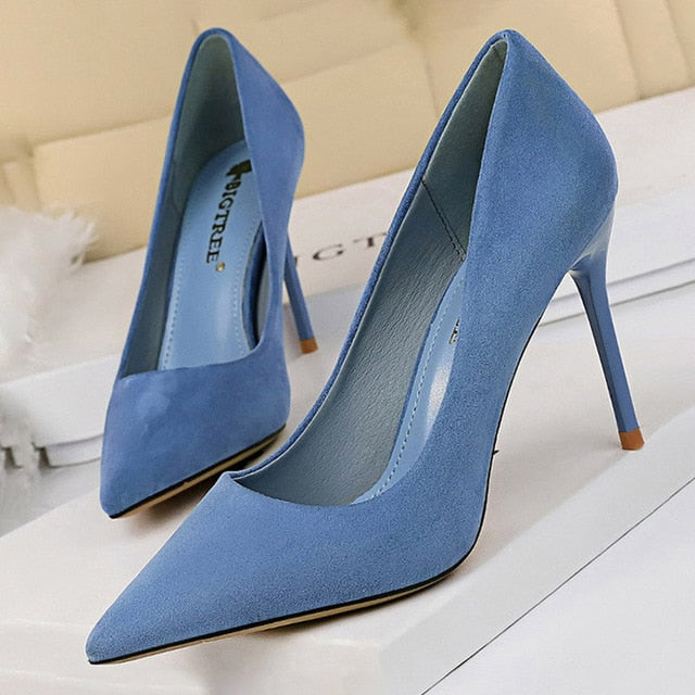 Pointed Toe Slip-On Stiletto High Heels Suede Blue Women's Pumps