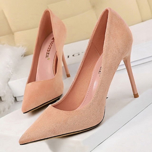 Pointed Toe Slip-On Stiletto High Heels Suede Pink Women's Pumps