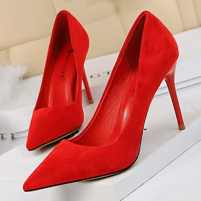 Pointed Toe Slip-On Stiletto High Heels Suede Red Women's Pumps