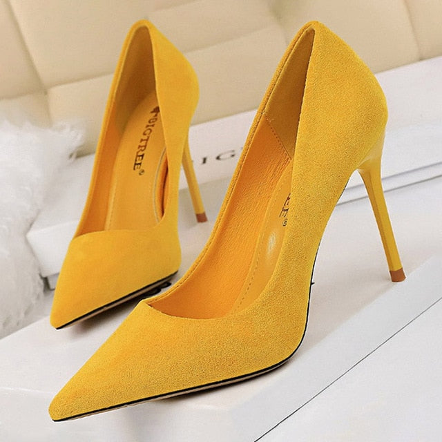 Pointed Toe Slip-On Stiletto High Heels Suede Yellow Women's Pumps