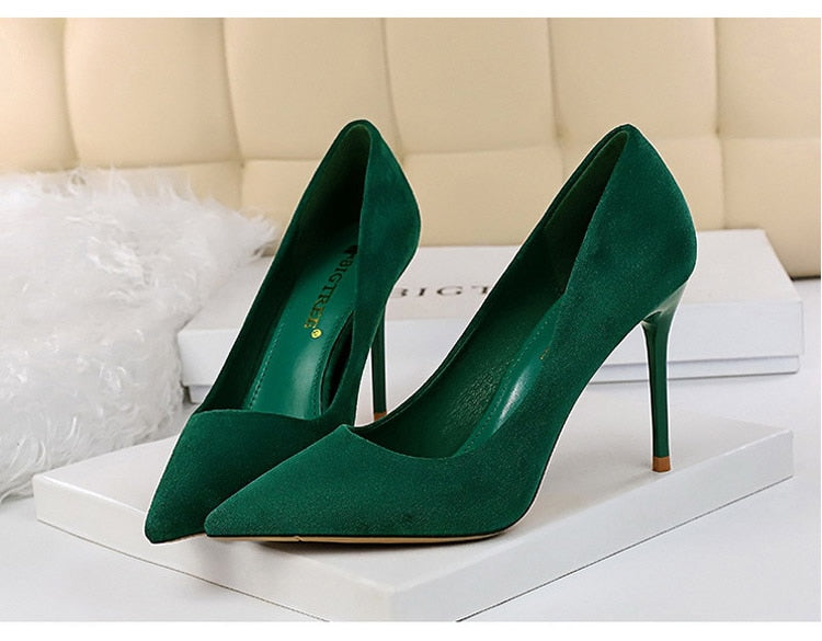 Pointed Toe Slip-On Stiletto High Heels Suede Green Women's Pumps