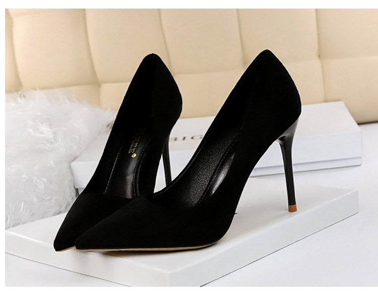 Pointed Toe Slip-On Stiletto High Heels Suede Black Women's Pumps
