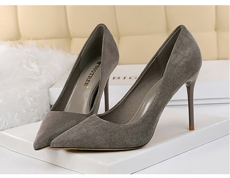 Pointed Toe Slip-On Stiletto High Heels Suede Gray Women's Pumps
