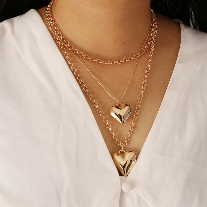 Punk MultiLayer Heart Pendant Necklaces For Women