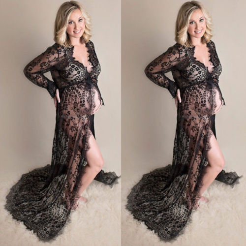 V-neck Gown Lace Maternity Black Maxi Dress For Fancy Shooting