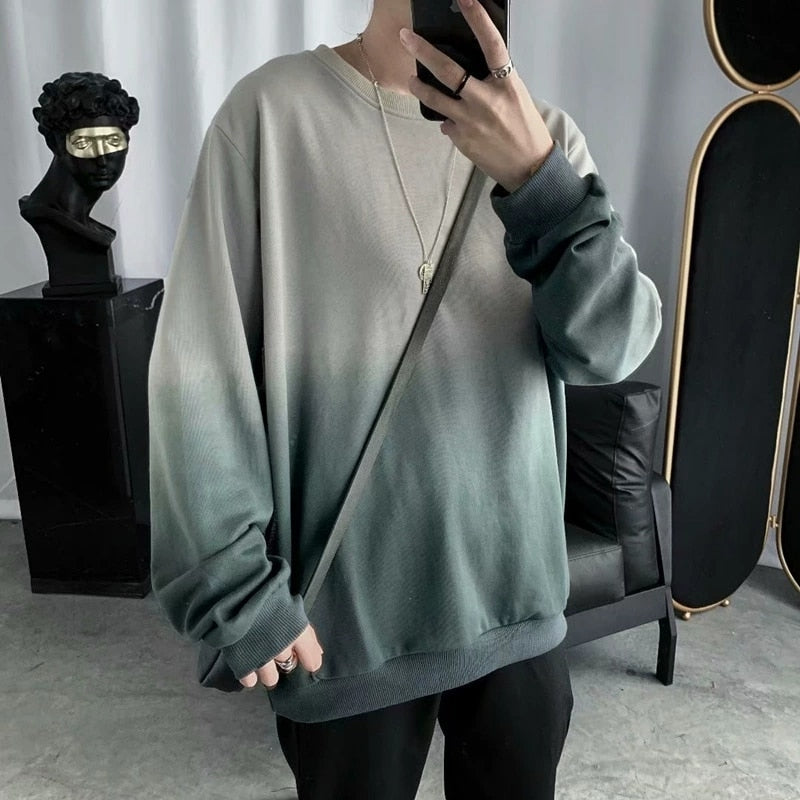 Mandarin Collar Long Sleeve Printed Men's T-shirt