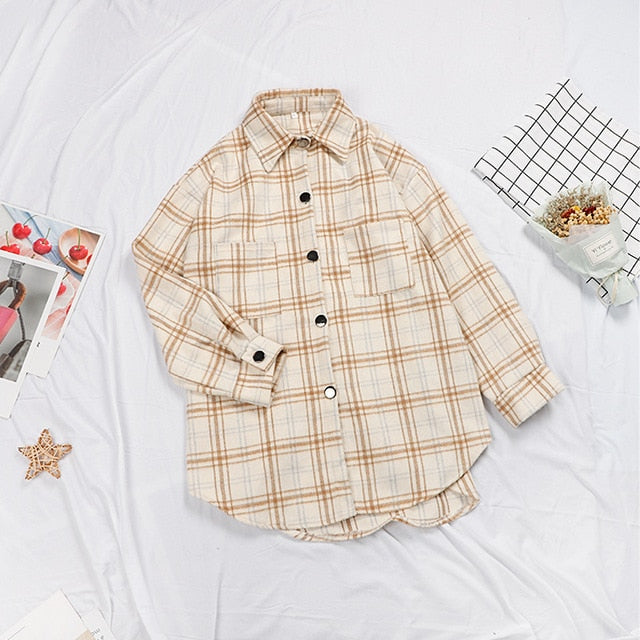 Oversize Long Sleeve Loose Plaid Women's Shirt