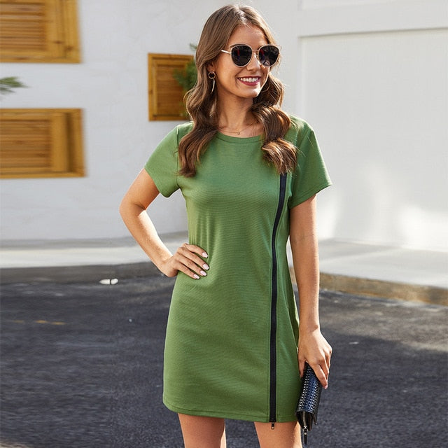 Runway Round Neck Stretch Slim Fit Hip Mini Green Dress