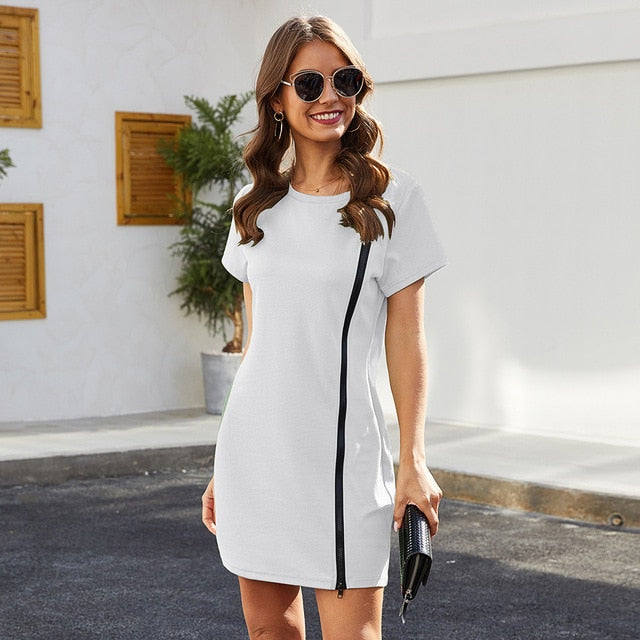 Runway Round Neck Stretch Slim Fit Hip Mini White Dress