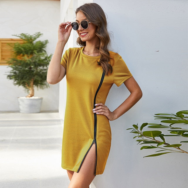Runway Round Neck Stretch Slim Fit Hip Mini Dress
