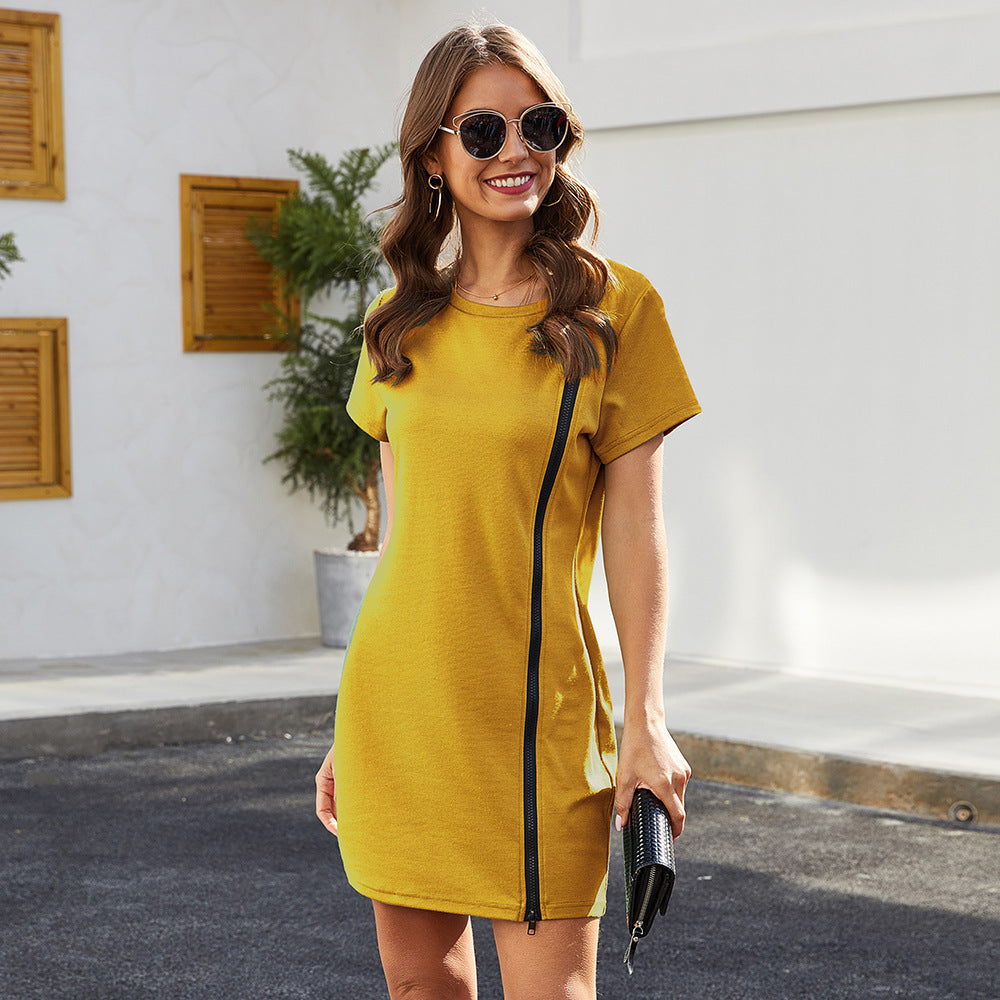 Runway Round Neck Stretch Slim Fit Hip Mini Yellow Dress