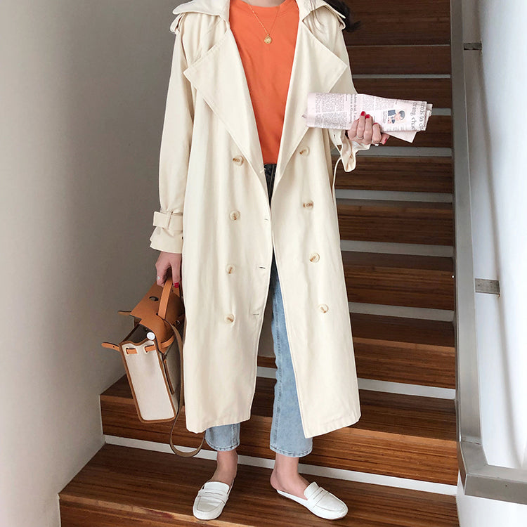 Korean Style Loose Long Khaki Trench Coat For Women