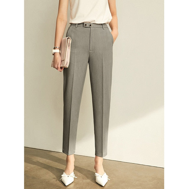 High Waist Slim Loose Straight Office Lady Gray Pants