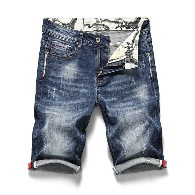 Elastic Stretch Slim Fit Denim Jeans Men's Shorts